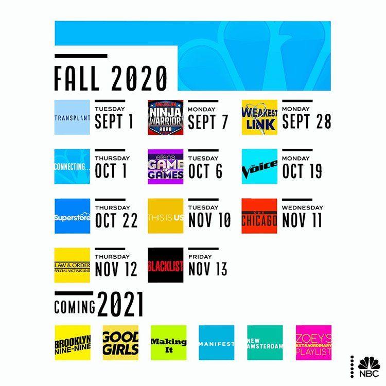برنامه پخش شبکه NBC برای پاییز ۲۰۲۰