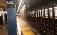 آبشار سیل آسا در ایستگاه متروی نیویورک + فیلم