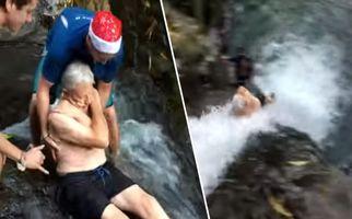ماجواجویی خطرناک مرد ۸۷ ساله در بالای آبشار!