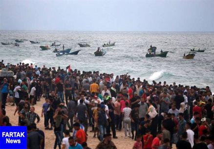 مشارکت گسترده فلسطینیان در راهپیمایی دریایی شکستن محاصره غزه