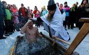 غسل کردن روسها در دمای هوا منفی ۱۵درجه!
