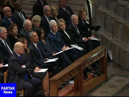 کنار هم نشستن ترامپ، اوباما، کلینتون و کارتر خبرساز شد