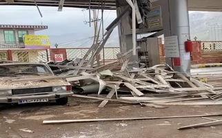 فیلمی از انفجار مهیب امروز در جایگاه CNG پاوه