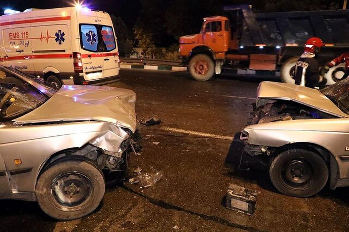 برخورد پنج دستگاه خودرو سواری در بزرگراه سردار سلیمانی