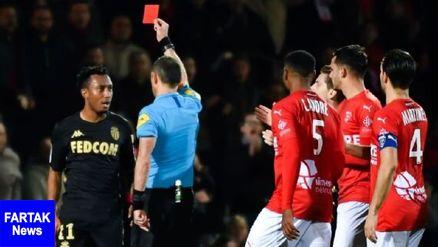 ۶ جلسه محرومیت برای بازیکن موناکو به خاطر هُل دادن داور