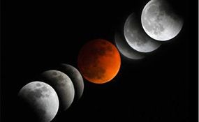لحظاتی از پدیده ماه گرفتگی بامداد دوشنبه + فیلم