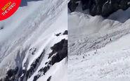 مدفون شدن دهها اسکی باز در کوه های آلپ! +فیلم
