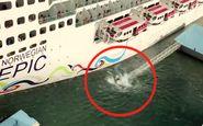 لحظه تصادف کشتی کروز غول پیکر با لنگرگاه! +فیلم