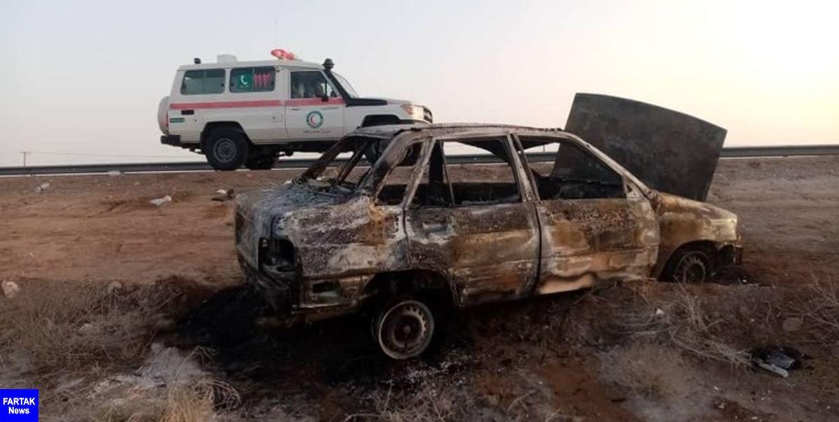 آتشسوزی پراید در محور شاهرود- میامی/ ۴ نفر مصدوم شدند