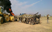 روایت مسافران از تصادف وحشتناک اتوبوس با تانکر سوخت در آزاد راه نطنز -کاشان + فیلم