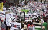 صدها شهروندان انگلیسی در حمایت از فلسطین مقابل مقر اجلاس گروه 7 تجمع کردند