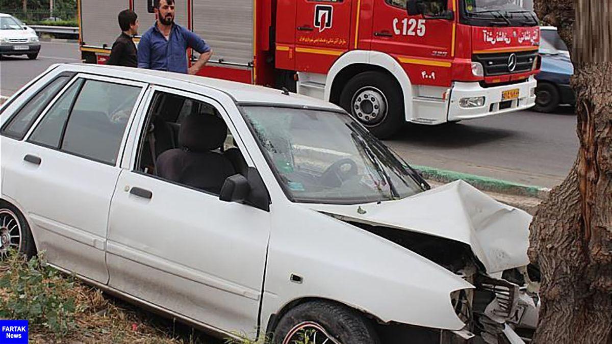 یک کشته بر اثر تصادف پراید با درخت در البرز