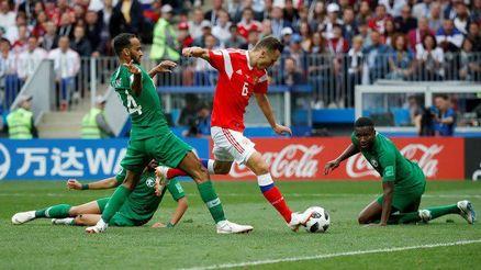 روسیه 5 عربستان 0 ؛ عرب ها بازیچه مربی روسیه؛ 2 تعویض، 3 گل