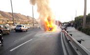 آتش گرفتن پژو وسط بزرگراه یادگار امام تهران