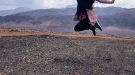 ژست جالب خاطره اسدی در طبیعت کوهستانی + عکس
