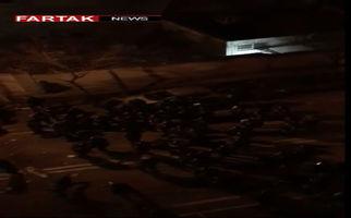 حمله مجدد خودرویی به ماموران پلیس در درگیری های امشب با دراویش گنابادی + فیلم