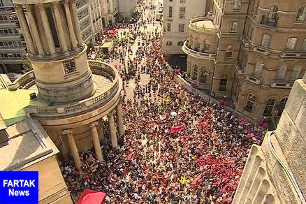 تظاهرات گسترده مردم انگلیس در مخالفت با سفر ترامپ به لندن