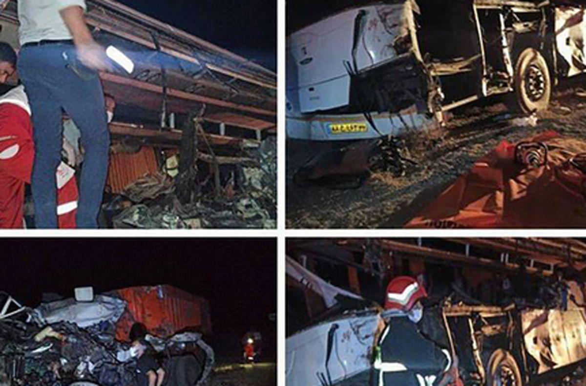 تصادف خونین و مرگبار اتوبوس و تریلر